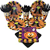 Halloween Theme Party Supplies-Bring Halloween Stories to your Party with Table Decorations-Table Cover, Plates, Cups, Napkins, Plastic Cutlery with Witch, Pumpkins, Bats, Ghosts, and Spiders images