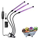 Grow Light, Grow Lights for Indoor Plants, Moer Sky 27W 54 LED Bulbs Timming Plant Grow Lamp with Red, Blue Spectrum, 3/6/12H Timer, 3-Head Divide Control Adjustable Gooseneck, 5 Dimmable Levels (Color: Black, Tamaño: 3-Head)