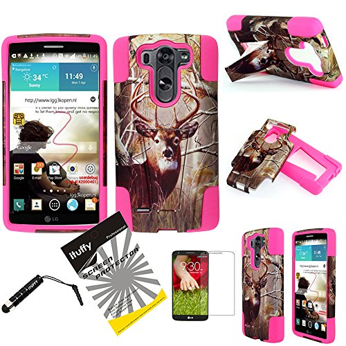 LG G3 Case / LG G3 D855 / ITUFFY(TM) 3items Combo: LCD Screen Protector Film + Stylus Pen + 2Tone Design (Dual Layer- Plastic Cover + Soft Rubber Silicone) Built-in KickStand Impact Resistance Tuff Armor Case (Tree Deer Camouflage - Hot Pink) (Lg G3 Rubber Case compare prices)