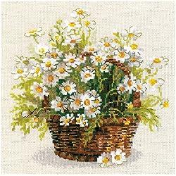 Riolis Russian Daisies - Kit de punto de cruz, diseño de flores