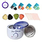 Wax Warmer Hair Removal Kit with 4 Different Flavor Hard Wax Beans, 10 Wooden Spatulas and 4 Melting Bowls, Perfect for Home Waxing Spa for Face Arm Armpits Legs Bikini (Tamaño: 1SET)