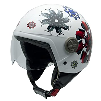 NZI 490004G416 3D Vintage II Vespa Flowers Casque de Moto, Blanc avec des Motos/Rouges/Vertes/Bleues, Taille : XS