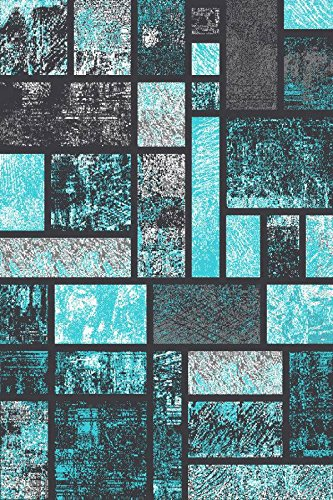 T1007 Turquoise Gray Black White 5 2 X 7 2 Abstract Modern