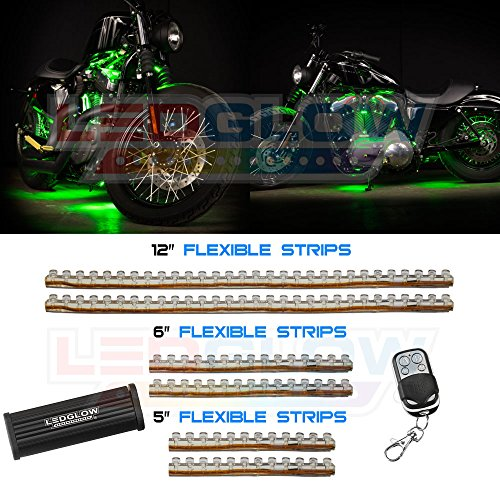 6Pc Green Led Flexible Motorcycle Lights