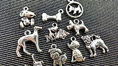 10pc Mixed Tibetan Silver Plated Animals Dogs Charms Pendants Jewelry Making DIY Charm Handmade Crafts (NS545 M028)