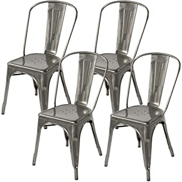 Amazon.com - Lemoderno Galvanized Steel Side Chair (4, Gun Metal) -