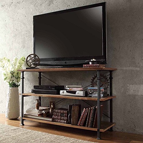 ModHaus Modern Industrial Light Brown Rustic Wood and Metal TV Stand - for Televisions up to 48 inches Includes ModHaus Living (TM) Pen (Iron Tv Stand compare prices)