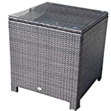 Outsunny Rattan Garden Furniture Side Table Patio Aluminum Frame Tempered Glass New (Brown)