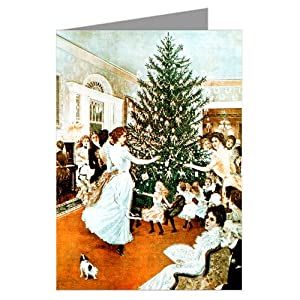 Victorian Christmas Tree Trimming Holiday Party Vintage Note Cards Boxed Set