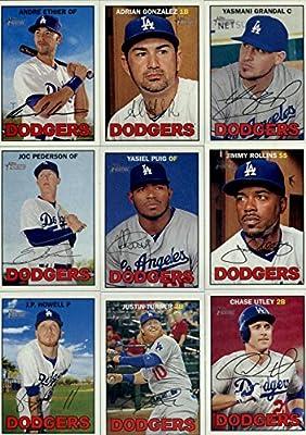 2016 Topps Heritage Los Angeles Dodgers Team Set of 12 Cards: Andre Ethier(#12), Adrian Gonzalez(#38), Yasmani Grandal(#84), Joc Pederson(#160), Frankie Montas/Trayce Thompson(#163), Jimmy Rollins(#191), J.P. Howell(#217), Justin Turner(#260), Chase Utley