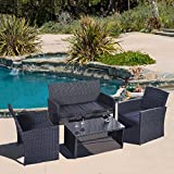 Giantex 4 Pc Rattan Patio Furniture Set Garden Lawn Sofa Wicker Cushioned Seat Black