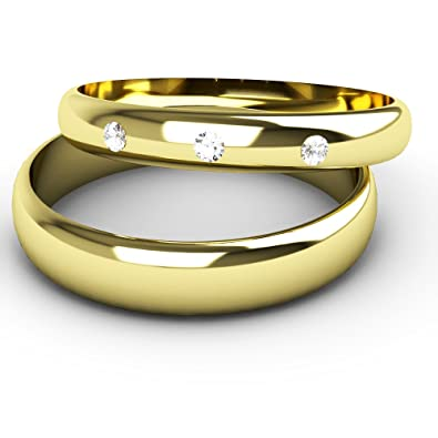 His And Hers Wedding Ring Sets A set of 9ct Yellow Gold D Shaped Band Diamond Wedding Rings.