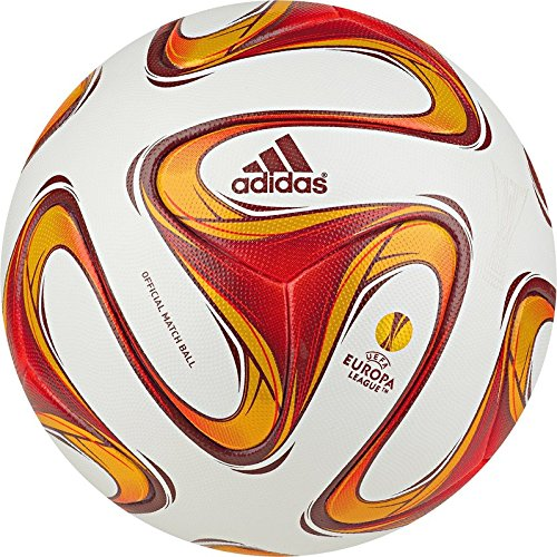 Adidas Pallone da calcio UEFA Europa League 2014/15, Bianco/Burgundy/Rosso solare, 5