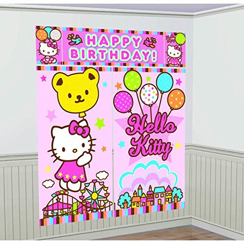 5-Piece Hello Kitty Balloon Dreams Scene Setter Set, Multicolored (Kitty Streamers compare prices)