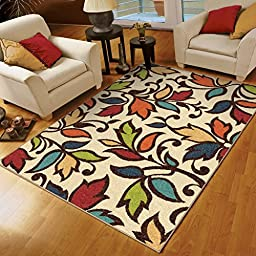Orian Rugs Indoor/Outdoor Floral DiCarna Multi Area Rug (5\'2\