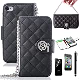 iPhone 4S Case, iPhone 4 Case, ULAK Luxury Fashion PU Leather Magnet Wallet Credit Card Holder Flip Case for Apple iPhone 4S iPhone 4 Cover with Screen Protector and Stylus (Black)