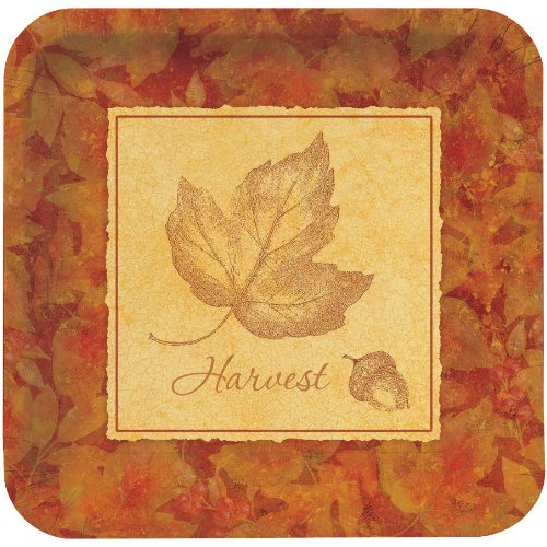 Creative Converting Settler's Feast Deep Dish Square Dessert Plate with Maple Leaf Silhouette, 8 Count