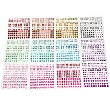 Outus Multicolor Self-Adhesive Rhinestone Sticker Sheet, 3 Size, 12 Sheets