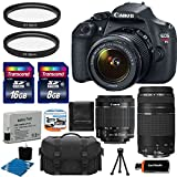 Canon EOS Rebel T5 18MP EF-S Digital SLR Camera USA warranty with canon EF-S 18-55mm f/3.5-5.6 IS [Image Stabilizer] II Zoom Lens & EF 75-300mm f/4-5.6 III Telephoto Zoom Lens + Extra Battery + UV Filter Kit with 24GB Complete Deluxe Accessory Bundle