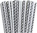 Black and Silver Damask Paper Straws -Birthday Party Supply Wedding, Bridal Shower 100%Biodegradable 7.75 Inches Pack of 100