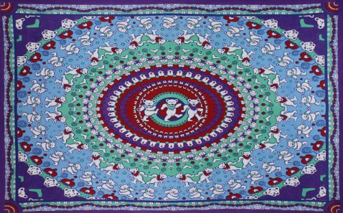 Sunshine Joy Grateful Dead Dancing Bear Tapestry Tablecloth Wall Art Beach Sheet Huge 60x90 Inches - Purple & Red (Dead Red Ca compare prices)