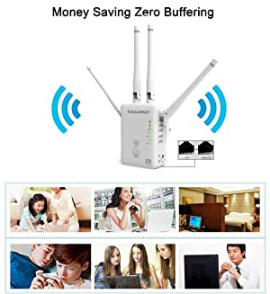 GALAWAY 1200Mbps WiFi Range Extender 2.4GHz and 5GHz Signal Extenders Internet Booster 360 Degree Wifi Booster Signal Amplifier with 4 Antennas (Color: A0)