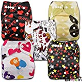 LittleBloom, Reusable Pocket Cloth Nappy, Fastener: Popper, Set of 5, Patterns 506, Without Insert, 19316