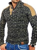 Tazzio TZ-3570 Men's Patched Coarse Knit Winter Jumper