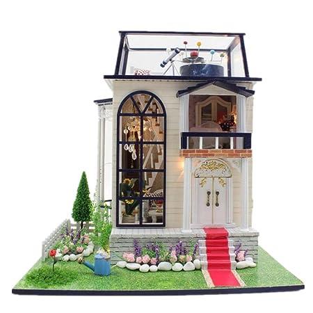 Maison De PoupéesMini maison meubles Kit décoration maison artisanat en bois poupées chambre cadeau LED musique petite maisonnette de poupée