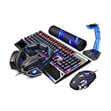 Zhengfangfang Metal Base USB Backlit Wired Mechanical Gaming Keyboard And Mouse And Headphone Set - Black