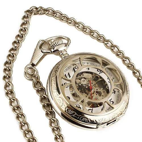 ESS Mens Silvered Stainless Steel Case Skeleton Hand-Wing Up Mechanical Pocket Watch with Chain WP028
