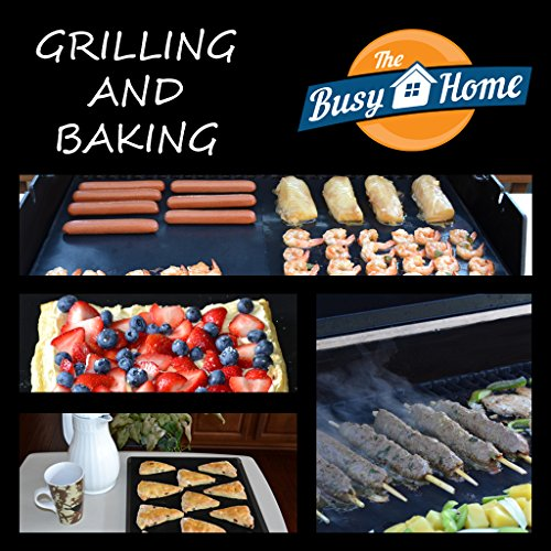 The Busy Home BBQ Grill Mat and Bake Mat with 2 Recipe eBooks - 13 by 15.75 inch in Black- Set of 2 Mats (Fat Daddy Button compare prices)