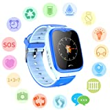 Waterproof GPS Tracker Watch for Kids - IP67 Water-Resistant Smartwatches Phone with GPS/LBS Locator SOS Camera Voice Chat Games for Back to School Children Boys Girls (02 V8 Blue Advanced Edition) (Color: 03 V8 Blue Advanced Edition)