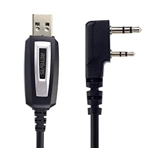 Retevis 2 Pin 2 Way Radio USB Programming Cable Lead Compatible Retevis H-777 RT1 RT-5R Baofeng UV-5R BF-888S Puing Wouxun TYT Kenwood Walkie Talkies(1 Pack) (Color: black)