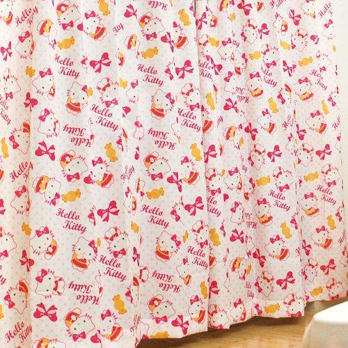 ハローキティ ドレープ カーテン 幅100cm × 丈135cm 2枚組 ホワイト