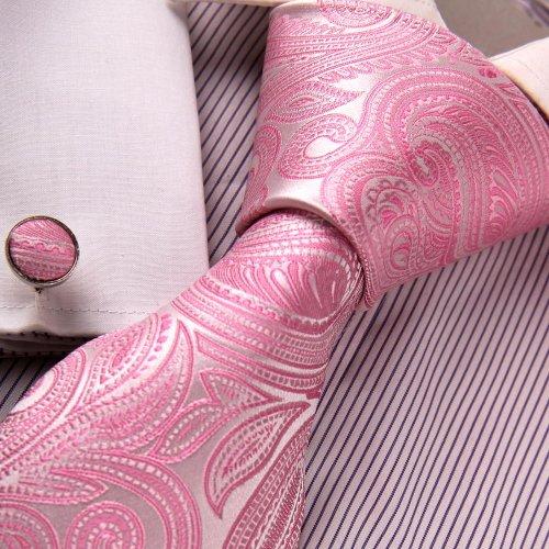 Pink Paisleys Designer For Men White Pattern Father Day Gift Formalwear Necktie Set A2021