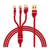 Bolatus Z-Series Multi Charging Cable 3-1 Multiple Devices Phone Connector Universal Charger Cord Adapter Compatible with Cell Phone X 8 7 Plus S9 Note Tablets (Red, 1FT-2Pack) (Color: Red, Tamaño: 1FT-2Pack)