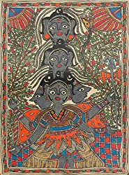DollsofIndia Panchmukhi Shiva - Madhubani Folk Art on Paper - 15 x 11 inches
