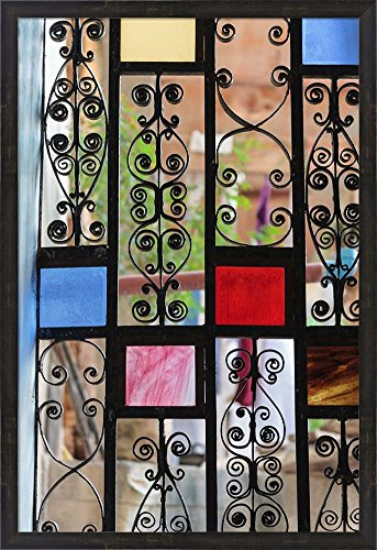 Africa, Tanzania, Zanzibar, Stone Town. Stained glass and iron door. by Alida Latham / Danita Delimont Framed Art Print Wall Picture, Espresso Brown Frame with Hanging Cleat, 26 x 38 inches