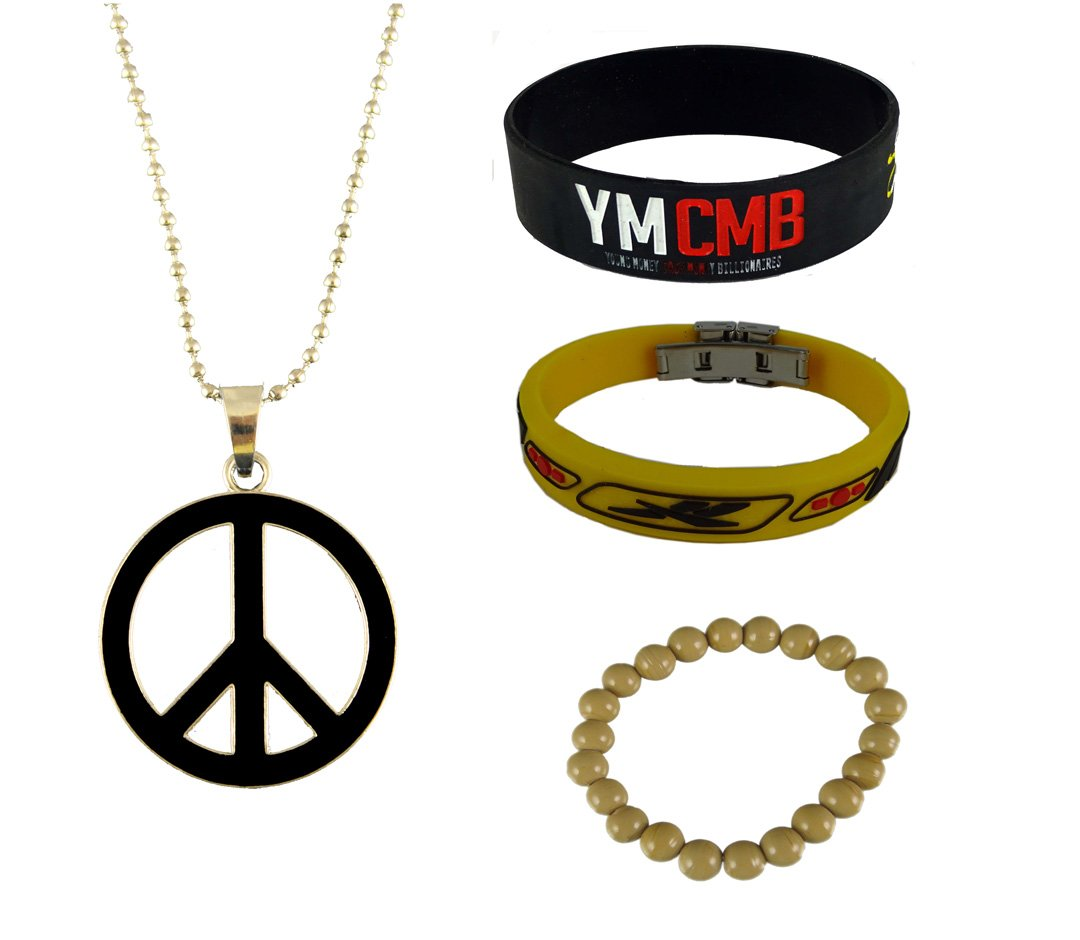 ESHOPPEE Lil Wayne, Reebok wrist band, peace locket, Combo of 3, Bracelet worth Rs.99/ FREE