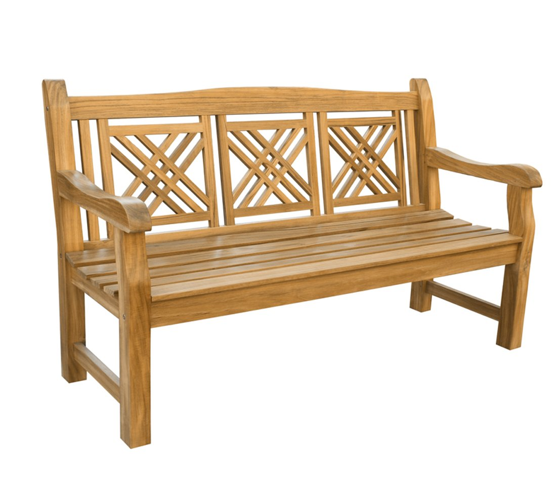 Dehner Gartenbank Korfu 3-Sitzer, ca. 150 x 90 x 66 cm, FSC Teakholz, natur