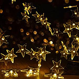 Amazon.com : CLEEACC Solar Powered LED String Lights Outdoor Waterproof Fairy 20 LED Star Rope ...