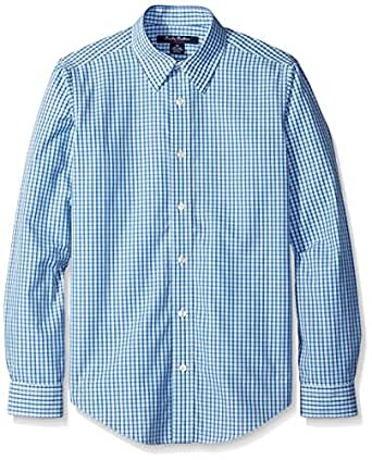 Brooks brothers non iron micro tattersal blue multi for Brooks brothers non iron shirt review