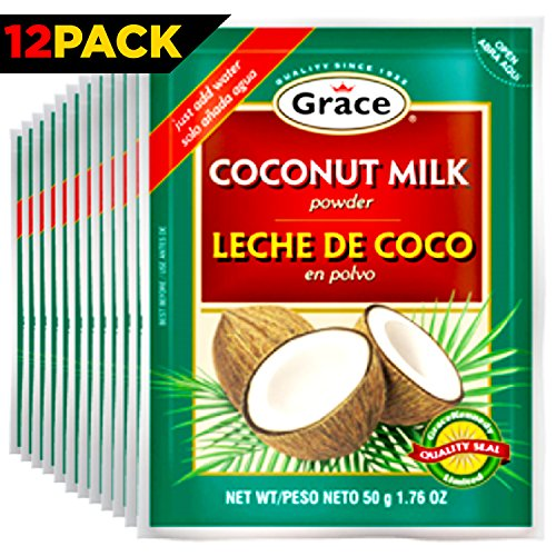 Grace Dry Coconut Milk Powder - 12 pack - No Preservatives No Refrigeration - Just Add Water - Milk Substitute - Coffee Creamer, Smoothies, Baking, Camping, Curries - Bonus Recipe eBook - 1.76 oz (Dehydrated Coffee compare prices)