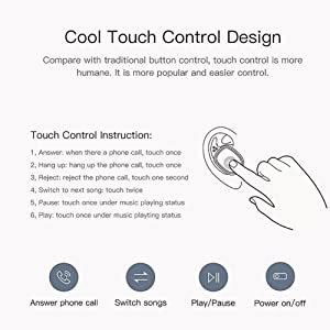 Touch Control Bluetooth Earphone, Mini Wireless Ear Buds, QCY T1 PRO TWS Wireless Headset with Microphone for Android, iOS and PC with 750mAh Charging Box (Color: White)