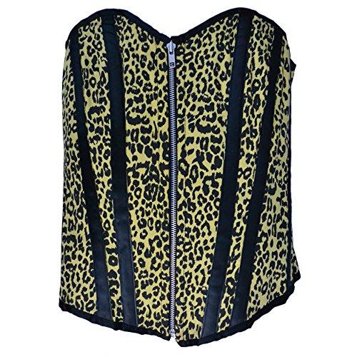 Zoelibat 53039342.065M-Burlesque completamente petto corsetto Leopard con Leo Print, grande M, Giallo/Nero