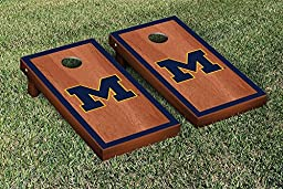Michigan Wolverines Cornhole Game Set Rosewood Stained Border Version