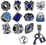 Timeline Trinketts Rhinestone Birthstone Charm Bracelet Beads Fits Pandora Jewelry European Style - Blue