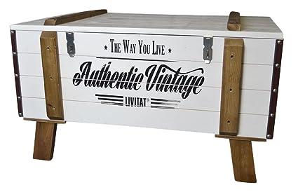 Livitat® Couchtisch Wohnzimmertisch Holz NEU Truhe Kiste Landhaus Weiß Used Shabby LV2060