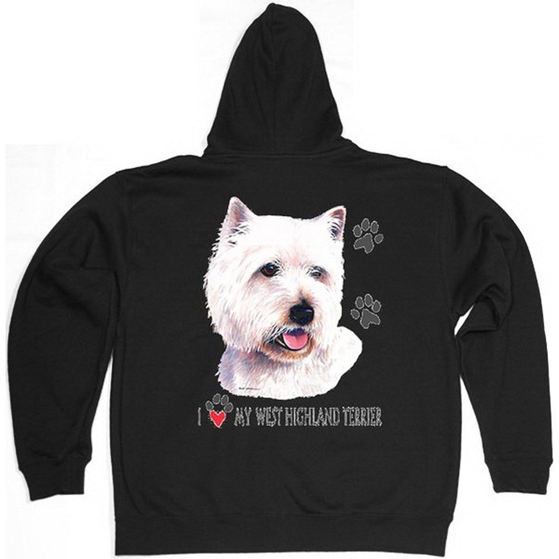 Sweatshirtjacke mit Kapuze trendiges Hunde-Motiv: West Highland Terrier – Zip Hoodie – Rückenaufdruck günstig online kaufen